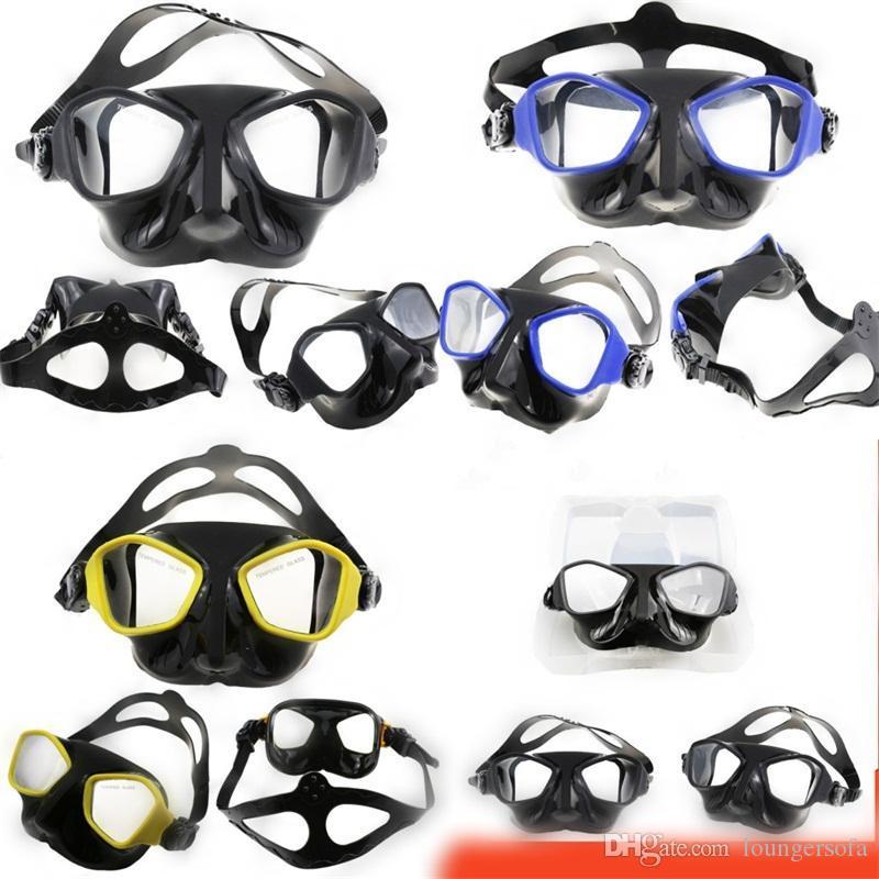 Silicone impermeabile Professione Diving Piastre Goggles temperato faccia di vetro Nero Giallo Blu Piccolo volume liquido di rivestimento nuovi occhiali