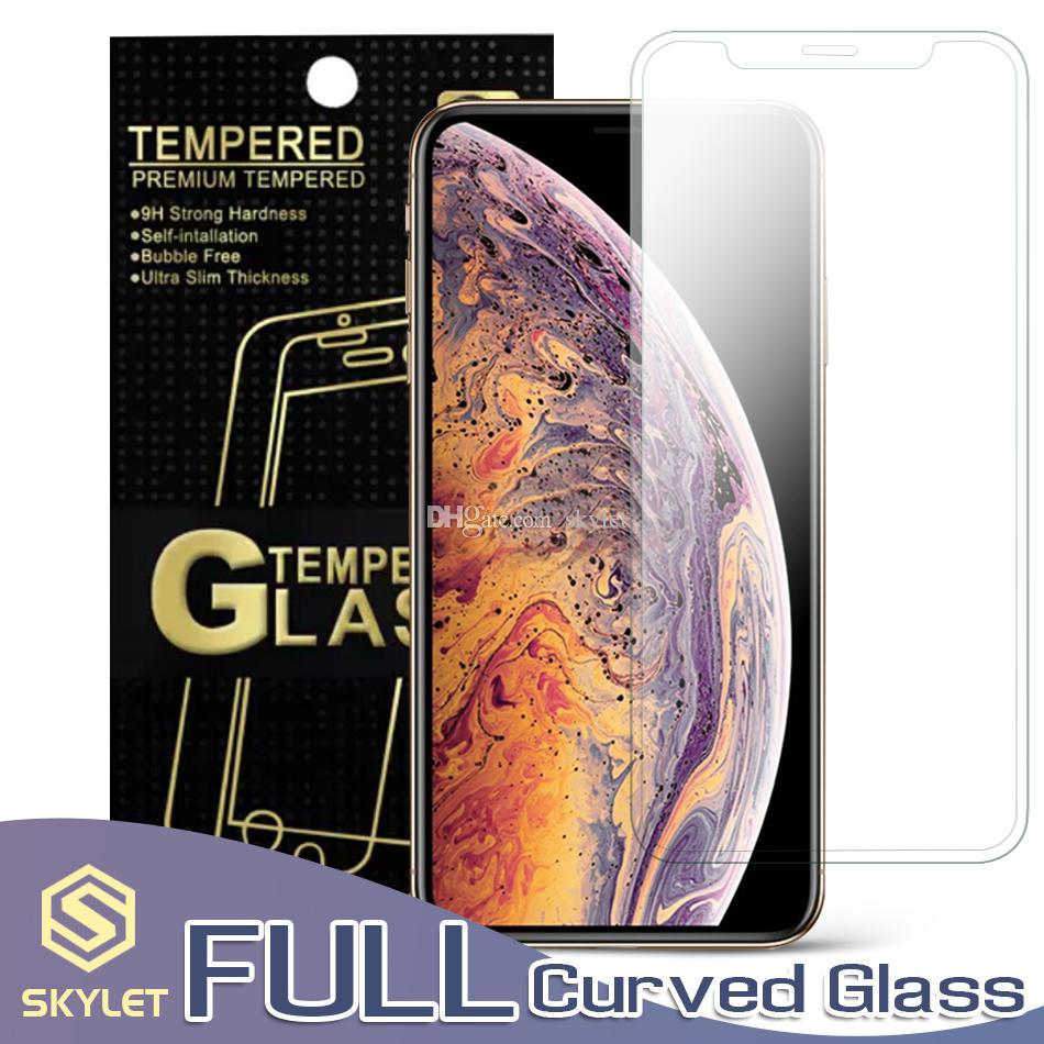 FULL Curved Screen Protector for iPhone XS MAX Clear Case friendly Tempered Glass for iPhone XR XS 7/8 Plus Protector Film 0.33mm with Box