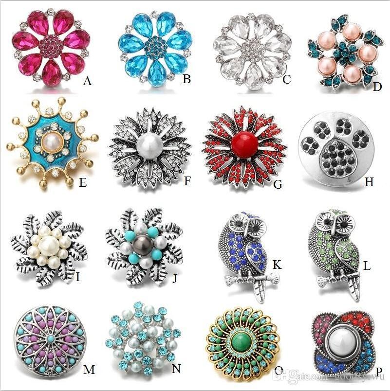 Noosa 18mm Druckknöpfe Schmuck Große Blumen Anhänger Kristall Chunks Buttons passen DIY Ingwerkeks Armband für Frauen-Männer Mischartauftrag