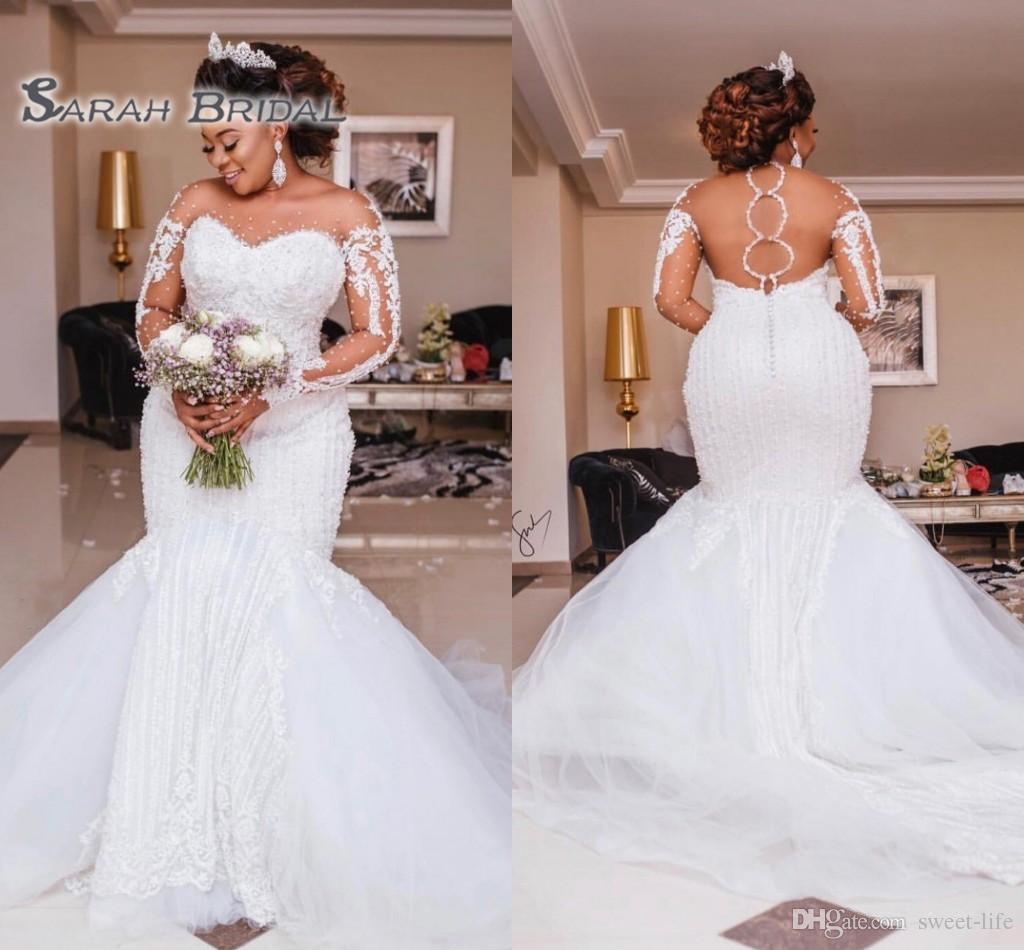 Luxury Heavy Beading Mermaid Wedding Dresses Long Sleeve Appliques Pearls African Bridal Gowns Plus Size Bride Vestido de noiva 2020
