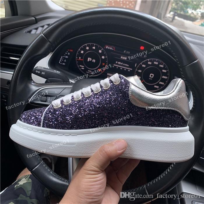 2019 de moda de lujo clásico de los zapatos ocasionales de la plataforma del cuero de la piel Trainer para mujer para hombre de la serpiente marina de guerra 3M zapatillas de terciopelo Zapatos del brillo con la caja