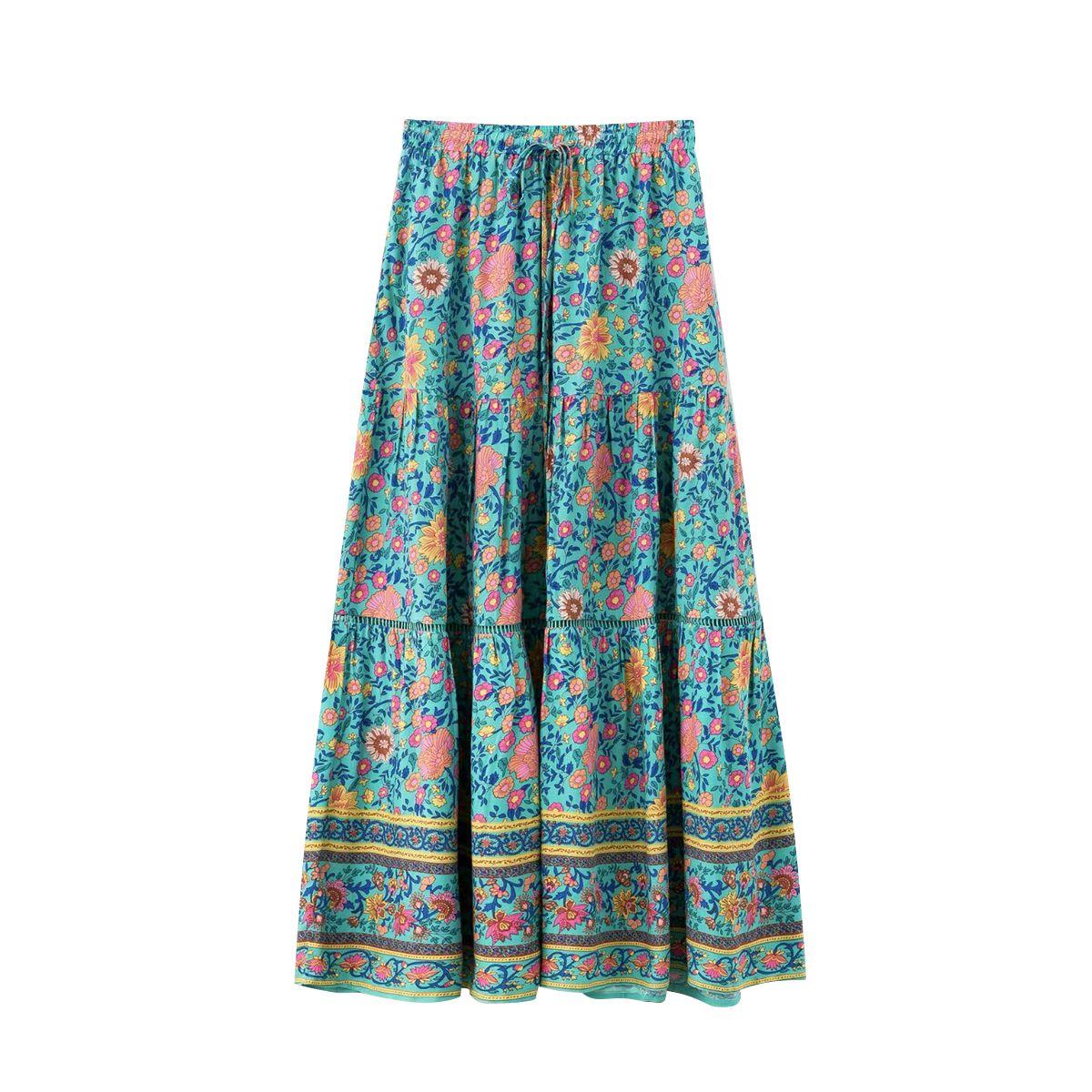 Turquesa impresión Maxi faldas mujeres alta cintura Floral Vintage bohemio faldas verano ropa Boho playa fiesta Casual Streetwear falda larga nuevo