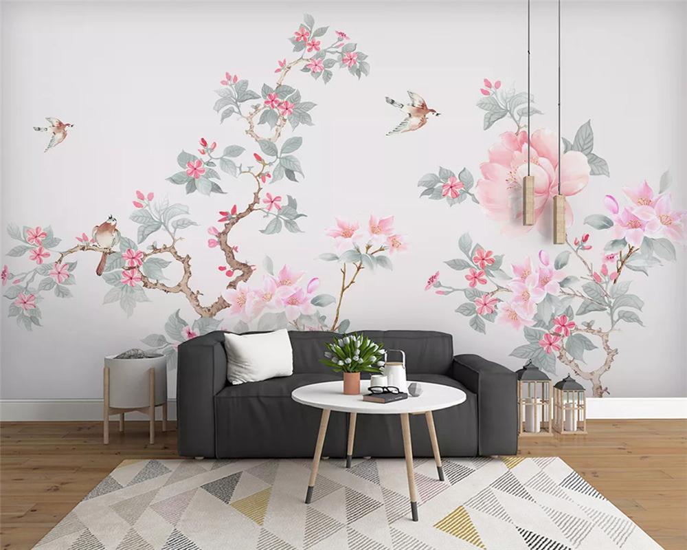 Индивидуальные современные обои магнолия китайский стиль ручная роспись цветы птицы европейская декоративная роспись обоев