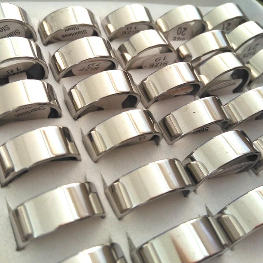 50pcs SIMPLES aço inoxidável PLAIN 8 milímetros prata BAND elegante jóia do casamento clássico Anel Womens Hot Mens venda do anel de dedo do presente do partido