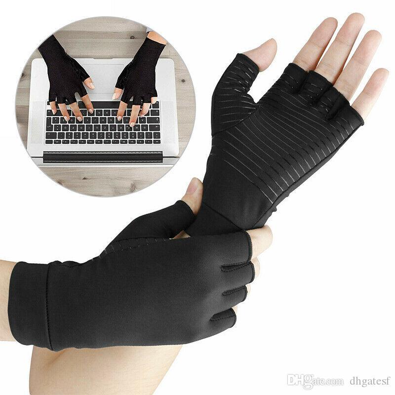 Guantes de compresión de cobre artritis guantes manos Mujeres Hombres Cuidado de la Salud Guantes medio dedo Ache dolor reumatoide Terapia Deportes Cuidado de la Salud