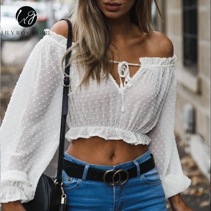زنبق روزي فتاة قبالة الكتف النساء قميص أبيض الصلبة طويلة الأكمام بلوزة قصيرة شارع العليا انظر من خلال النادي مثير المحاصيل الأعلى Q190518