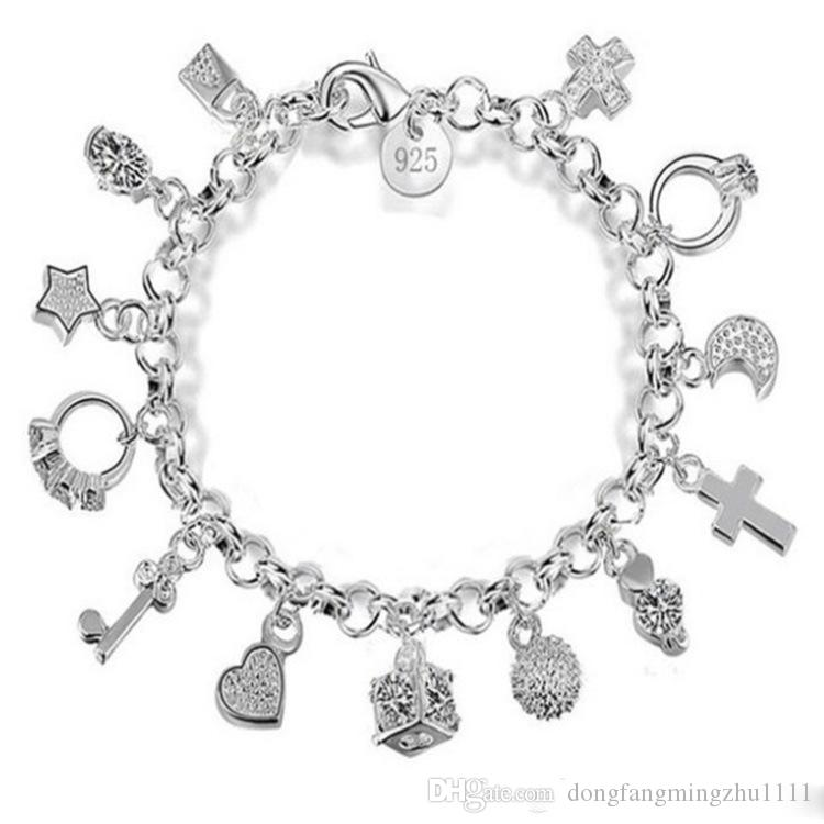 Treze peças penduradas pulseira para mulheres presente pulseiras pulseiras jóias de prata esterlina venda quente moda