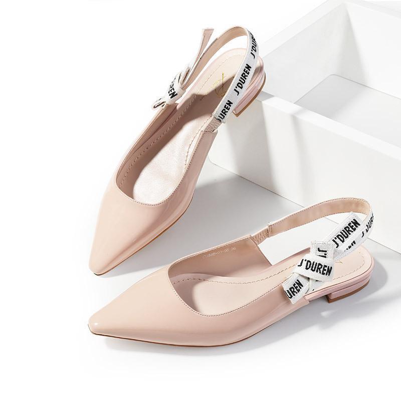 con Liu Yifei con la cinta carta punta de proa zapatos de tacón bajo después de la mezcla de sandalias de cuero Baotou plana shoesX505