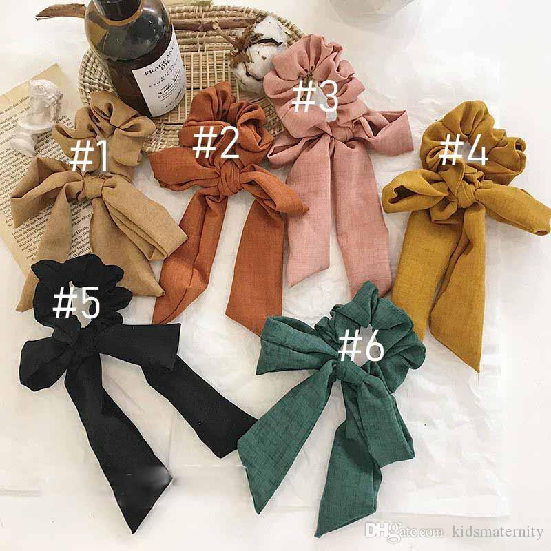 INS Vintage Solid Color Hair Scrunchies Bow Women Accessories Hair Bands Ties Scrunchie Ponytail Holder Rubber Rope Decoration Bowknot Bow