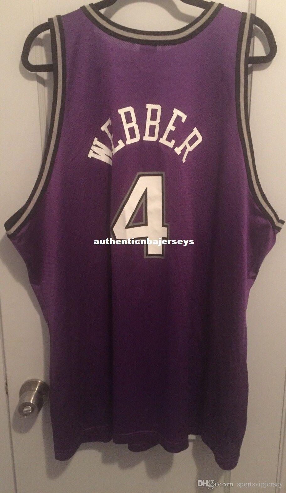 Barato al por mayor de Chris Webber # 4 Jersey Champion 90 Menta Bibby la camiseta del chaleco cosido jerseys del baloncesto NCAA