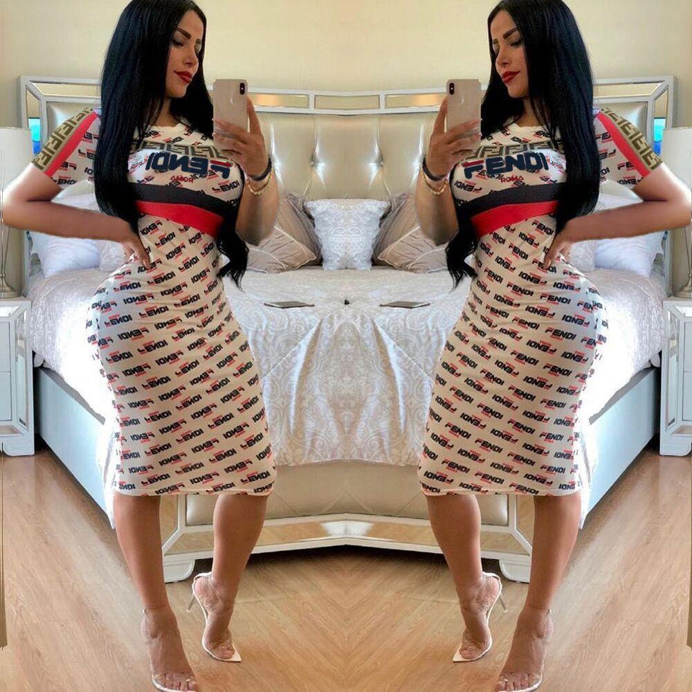 Fandi Марка Печати Midi Dress Лето Женщины Повседневная Мода Письмо Печатный Круглый Воротник С Коротким Рукавом Тонкий Street Party Платье Белого