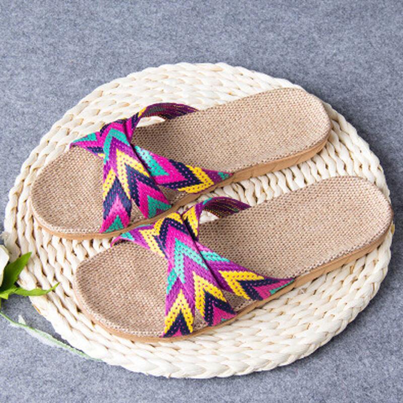 Лето Женская обувь Мужская Нескользящая обувь белье Главная Крытый плоский Тапочки Открытый Toe Цвет Printed Тапочки Zapatos De Mujer @ ру