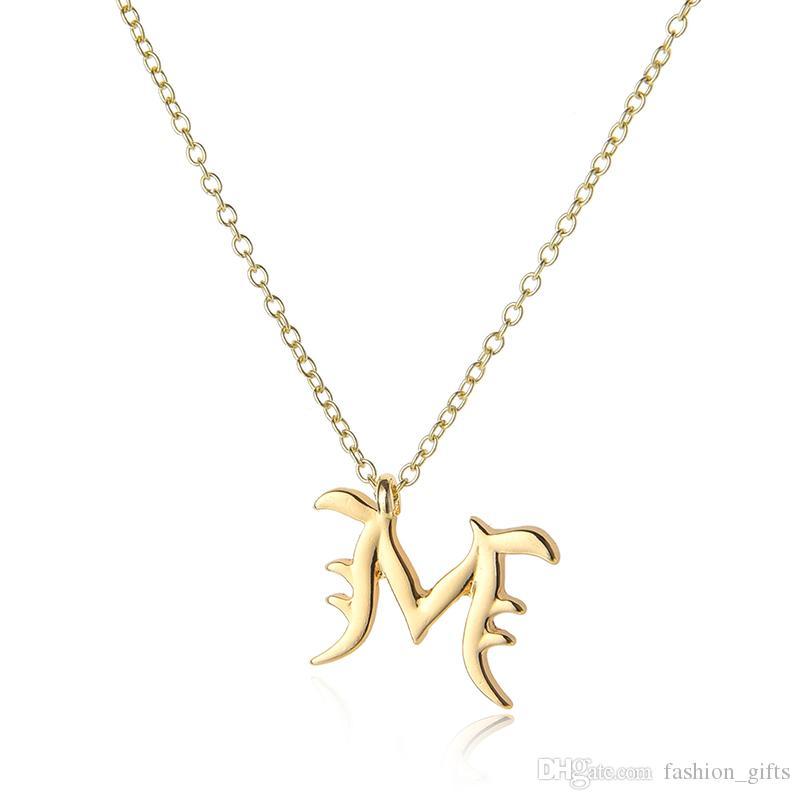 lucky All 26 USA алфавит имя Начальная буква-M монограмма Америка английское слово буква фамилия знак кулон цепь Шарм ожерелье ювелирные изделия