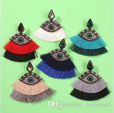 Eyes earrings good quality full of diamond pearl eyelash eye tassel earrings allergy free stud earrings 1055