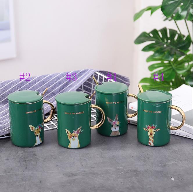Coffee Mug with Cap Ceramics Cute Animal Pattern Tea Cup Dark Green 400 ml Creative Gold Drawing Coffee Mug