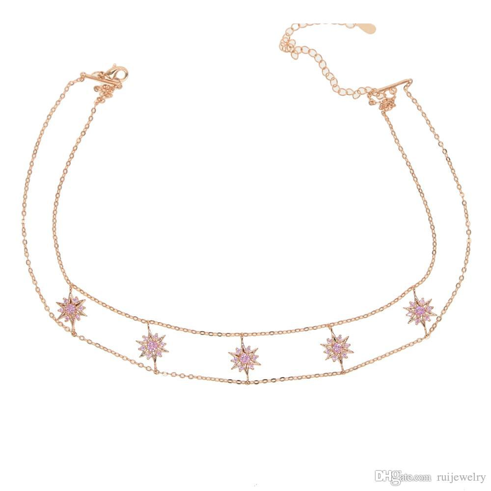 Most popular fashion Collar necklaces thin neck jewelry pink cz choker Style Women Simple Statement Jewelry daily weared 2019 NEW Style