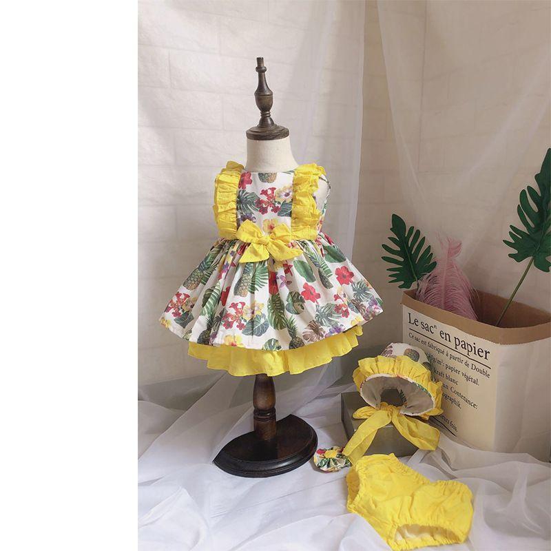Girl Kids designer clothes Dress Spain style Sleeveless O-neck Yell Flower Dress + short +hat Summer Princess Clothing Party Dress