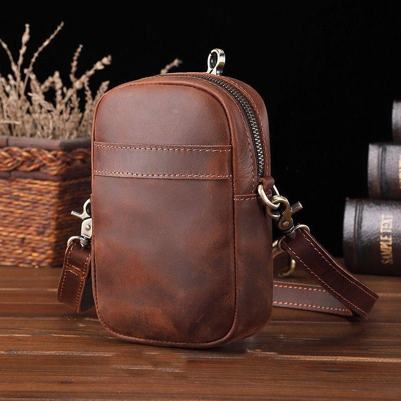 Vintage Messenger Cintura Bolsos Bolsa de hombre Hombres Paquete de cintura de cuero genuino Pequeño teléfono Pequeño Bella Masculina Cinturón Crossbody Bolsa Hombro Hombre Hip Ouias
