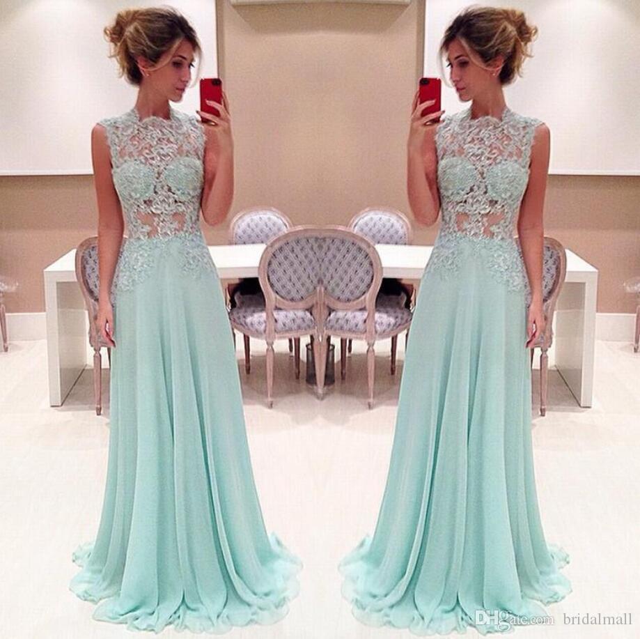 Enkel 2020 Mint Green Chiffon Evening Dresses A-Line See Through Lace Golv Längd Formell Party Gowns Billiga Long Prom Dress Vestidos