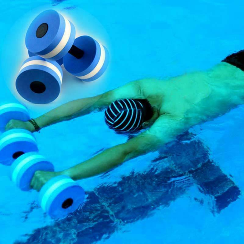 1pair Swimming EVA Floating Dumbbell Aquatic Barbell Water Aerobics Fitness Exercise Water Yoga Dumbbell Durable Stylish Barbell