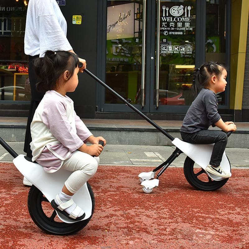 경량 쉬운 접는 어린이의 손 푸시 밸런스 차 아이 세발 자전거 유모차 세 바퀴 아기 장바구니 두꺼운 타이어 2-5Y