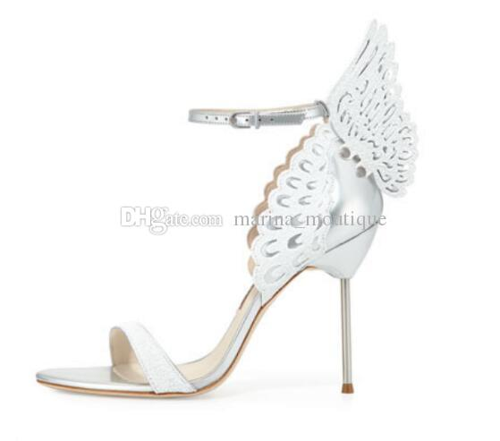 Butterfly Wing White Silver Sandals Summer Hot Lady Sophia Webster Women Wedding Bridal Shoes