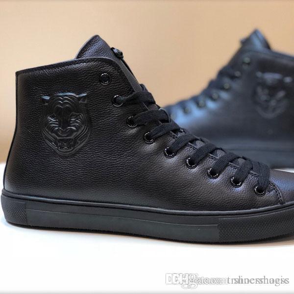 lüks moda erkekler yüksek kesim gündelik kot gündelik parti rahat ayakkabı deri tek ayakkabı düğün pompa siyah boyutu 38-45 slip [kutu ile]