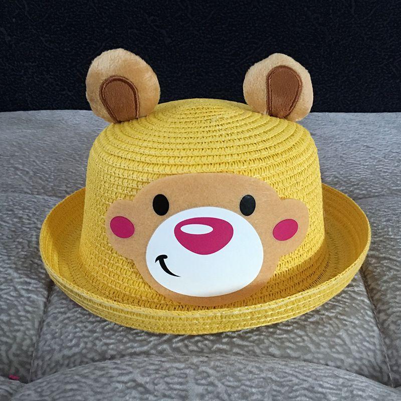 الأطفال قبعة من القش الأذن الصيف لطيف الديكور قبعات للأطفال بنات بنين الصلبة 50PCS مرن شاطئ كاب بنما hope12