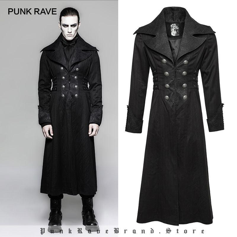 PUNK RAVE Erkekler Gotik Steampunk Kış Uzun Jacketparty Kulübü Cadılar Bayramı Sahne Performansı Kişilik Kostüm Erkekler Coat Güz