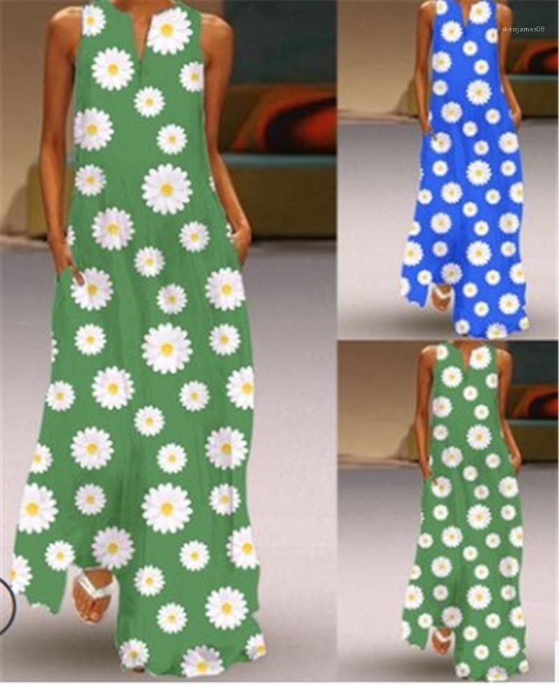V عنق إمرأة الكاحل عارضة طول اللباس للمرأة اللون على النقيض من الزهور طباعة فساتين زائد حجم أكمام موضة