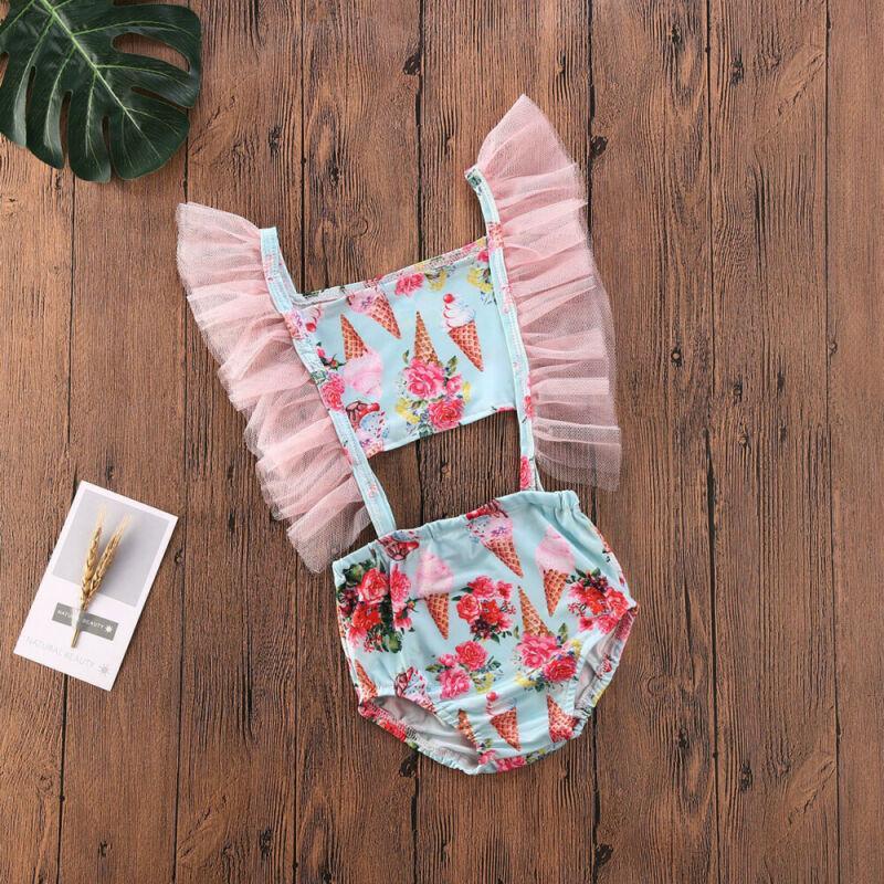2020 Kleinkind-Kind-Baby-Eiscreme-Swimwear Ineinander greifen kräuselt Bikini-Badeanzug-Schwimmen-Kleidung-Sommer-Badeanzug-nette Prinzessin