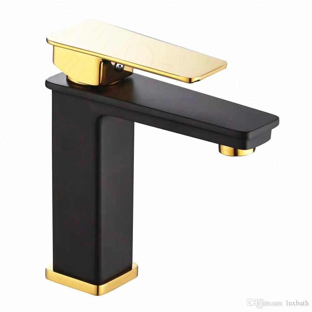 Rolya GoldenBlack Bassin-Hahn-Mischbatterien Waschbecken Wasserhahn aus massivem Messing Luxurious einzigartiger Patent-Entwurf