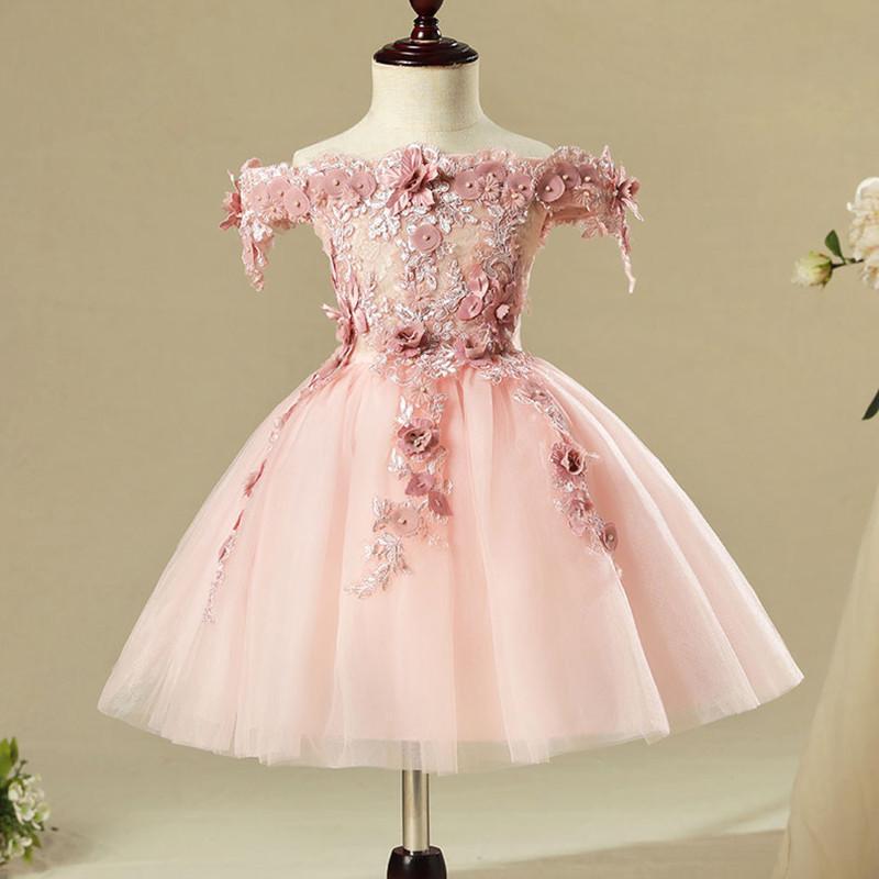 De haute qualité Flower Party Girl sans épaules Pageant robe de princesse pour les petites filles Glitz Rose robe de première communion Appliques Q190522