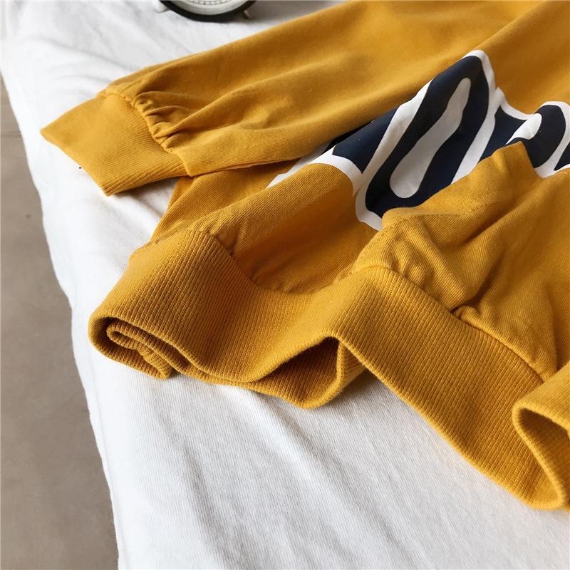 xEeoC wCrEq 2020 primavera ropa casual de la mujer bolsillo letra impresa Corea del suéter de cuello redondo jersey nueva ropa de moda jersey suelto