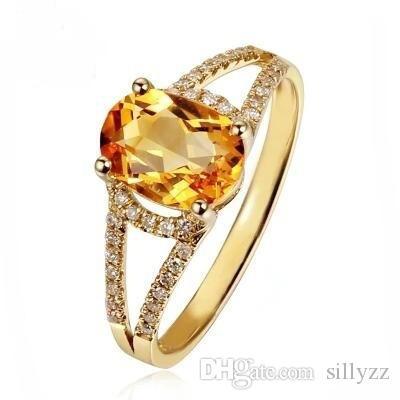 패션 한국어 스타일 보석; 이 노란색 크리스탈 14K 골드 반지의 크기는 6 7 8 9 10입니다