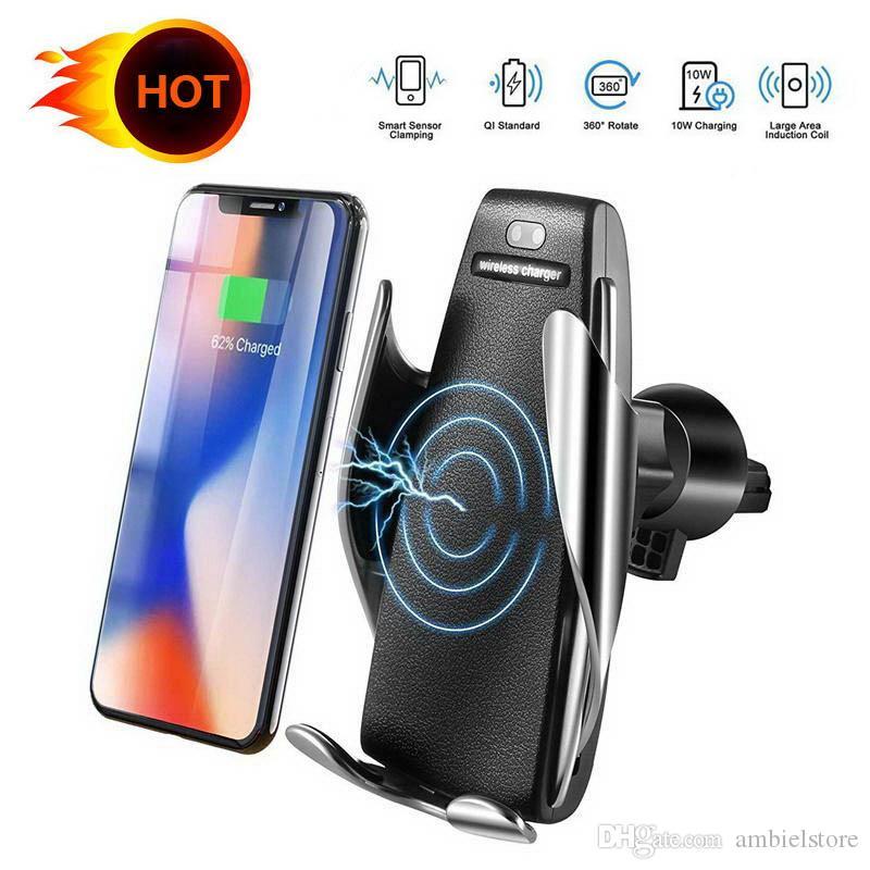 Automatische Sensor-Auto-Wireless-Ladegerät für iPhone Xs Max Xr X Samsung S10 S9 Intelligente Infrarot-Schnelllade Auto-Telefon-Halter