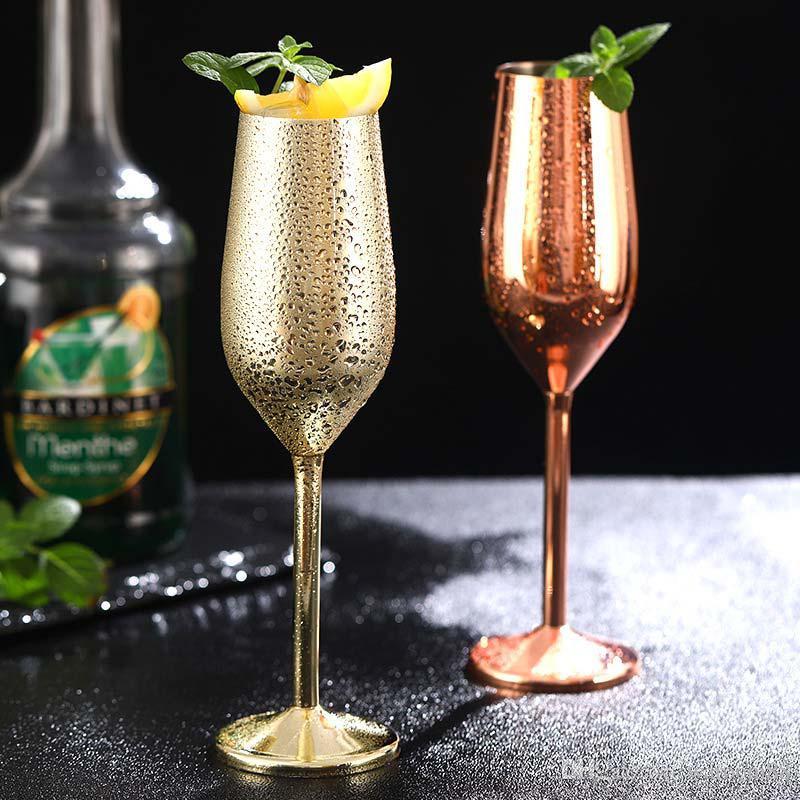 레드 와인 잔 실버 로즈 골드 스테인레스 스틸 잔의 주스는 샴페인 잔 파티 기물 홈 주방 도구 200ml의 마시는 음료