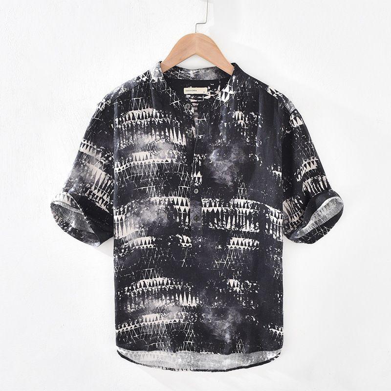 Gli uomini di modo di estate annata inchiostro stampato manica corta T-shirt Casual Male stand collare di alta qualità Biancheria Pullover T-shirt