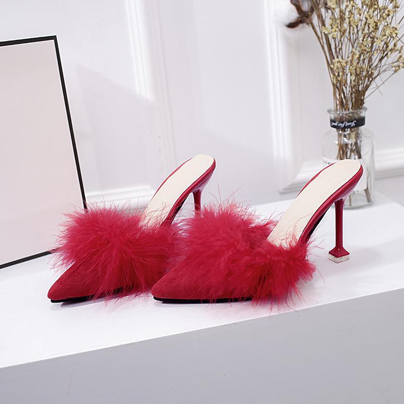 Femme Nouveau 2019 Chaussures Sexy de sabot de Wedge Stiletto Lady Le daim plume Slides haut - Chaussures à talons 8.5cm Y200624
