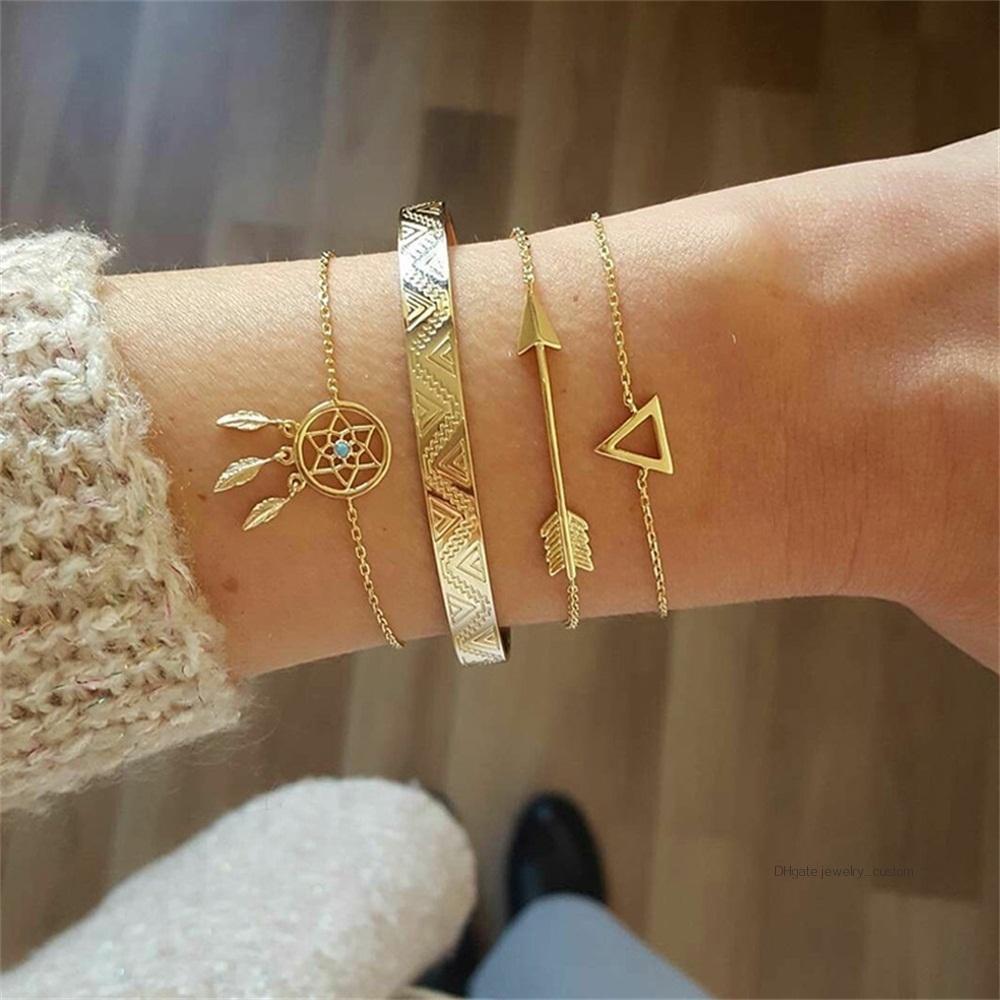 4 Teile / satz Böhmischen Vintage Blatt Edelstein Geometrische Pfeil Kristall Kette Gold Armbänder Damen Exquisite Strand Armreif Schmuck Gifs