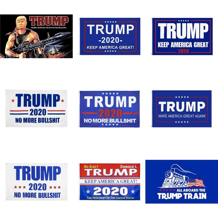 35X60 дюймы 2020 Trump Флаг Баннер Для президента перевыборы Usa America двухстороннего печатной Слоган Флаг латунные крепления Decor 8 цветов # 88