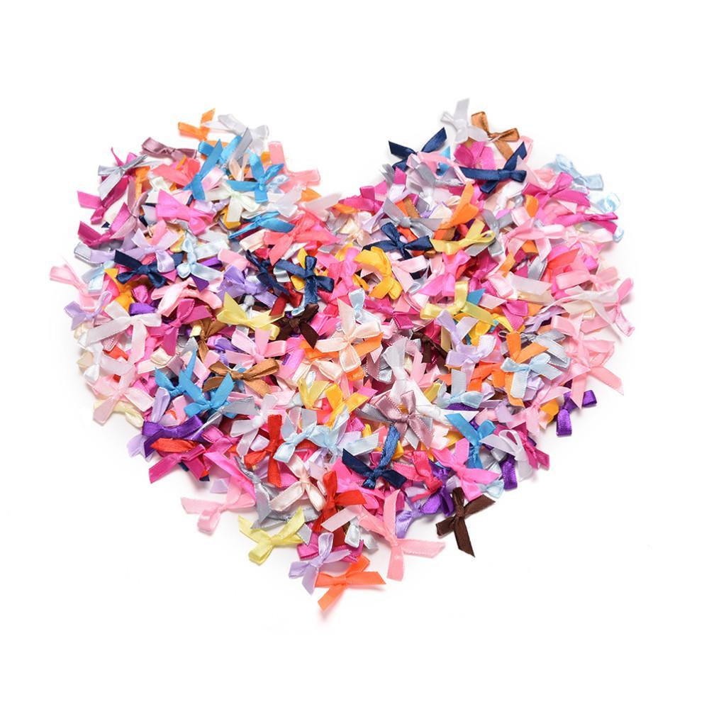 200pcs / серия Bow Tie ткань Девушка мини волос лук лента DIY Шитье подарки аппликации Craft для венчания Фестивалей партии подарка праздника