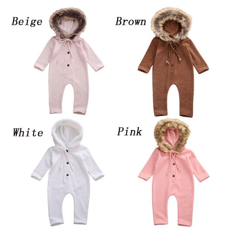 Autunno Inverno Newborn Kid ragazza del neonato maglia pagliaccetto maglione con cappuccio tuta Outfits Abiti pesanti