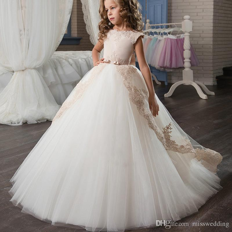 Cap Sleeve Style Tulle Ball Gown Flower Girls' Dresses With Bow Tie Floor Length Zip Back