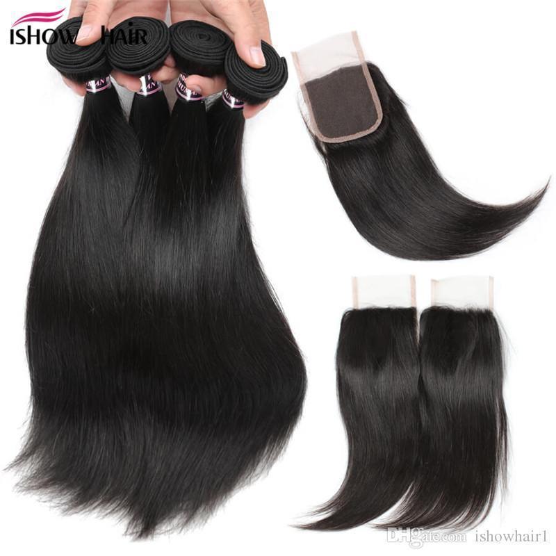 Günstige 8A brasilianischer Haar-Menschenhaar-Bündel mit Verschluss-Körper-Wellen Gerade tief lockig mit 4 * 4-Spitze-Schliessen Wasser Welle löst Welle Haar-Einschlagfaden