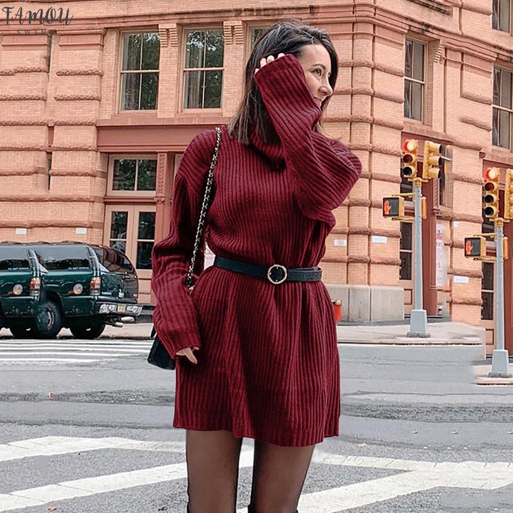 Autunno Inverno lunghi delle donne Maglione fatto a maglia solido casuale Maglione dolcevita maglioni Dress Womens Long Pullover Maglione Plus Size
