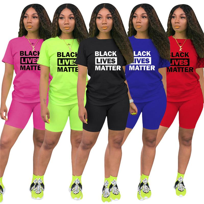 Женская мода шорты Tracksuit Черный Lives Matter Печать Лето с коротким рукавом футболка + шорты 2 шт комплект Нижнее Casual Спортивная одежда