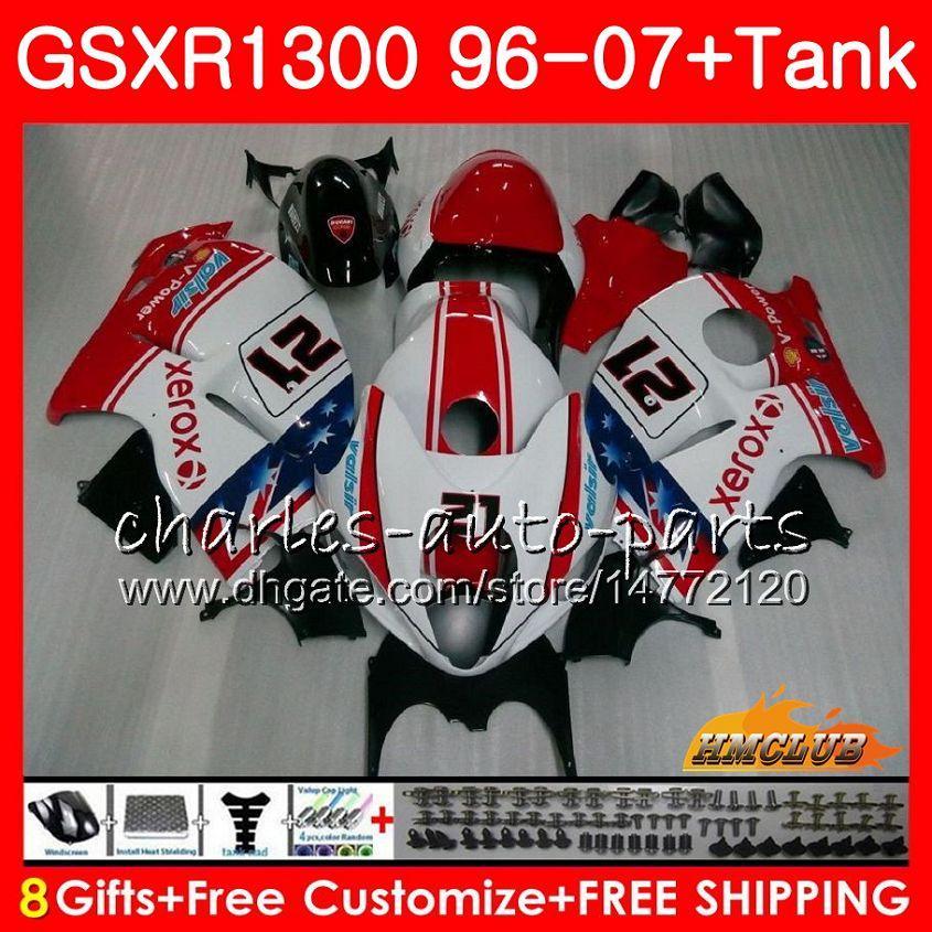 Kit Para SUZUKI Hayabusa GSX-R1300 1996 1997 1998 2007 24HC.27 GSXR 1300 GSXR1300 96 97 98 99 00 01 02 03 04 05 06 07 vermelho branco quente Carenagens