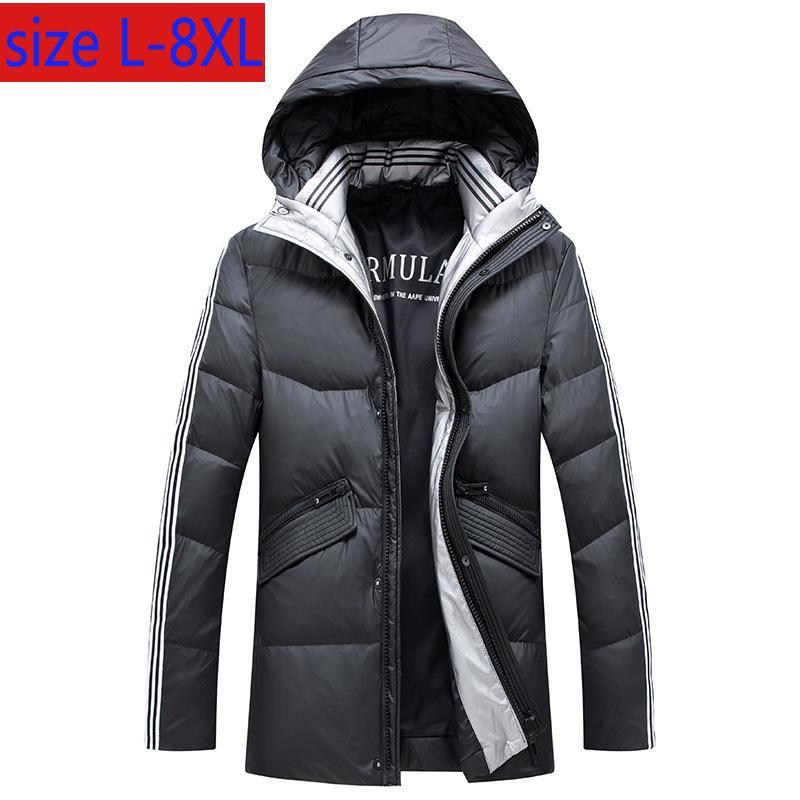 Yeni Yüksek Kaliteli Kış Kalınlaşma Sıcak Aşağı Ceket Erkekler Kapşonlu Aşağı Kalın Plus Size L-6XL 7XL 8XL Ördek Casual Şık Beyaz