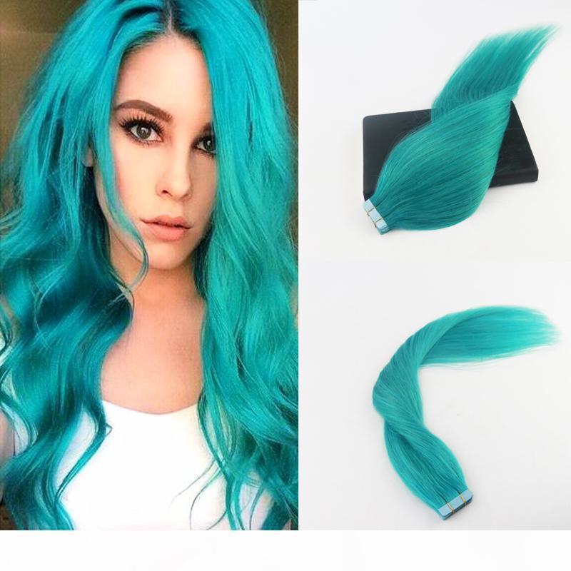 Fita sem emenda na Hair Extensions #Teal 100% verde Remy Extensões de cabelo humano direto para Mulheres Moda 40Pcs 100G Package